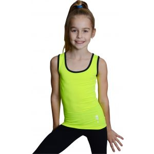 Tílko žluté černá lem, gymnastka s obručí stříbrná