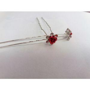 Vlásenky s růžičkou červené