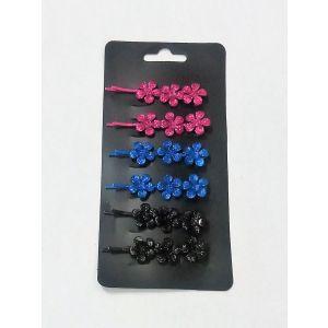 Sponky do vlasů kytička modrá, růžová, černá
