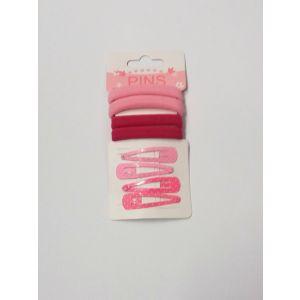 Sponky+gumičky do vlasů (růžová)