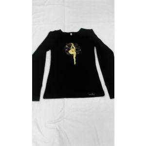 Tričko MERINO černé dlouhý rukáv zlatá gymnastka