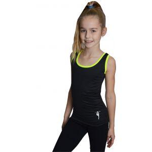Tílko černé žlutý lem, gymnastka s obručí stříbrná
