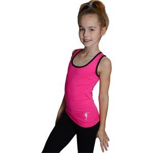 Tílko růžové černý lem, gymnastka s obručí stříbrná