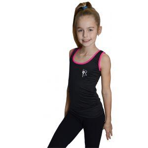 Tílko černé růžový lem, gymnastka se stuhou bílá