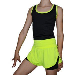 Šortky DUO černá-neon žlutá 140
