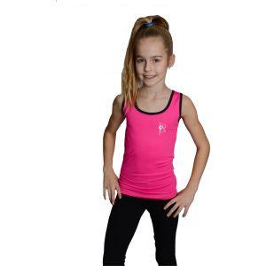 Tílko růžové černý lem, gymnastka se stuhou bílá