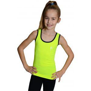 Tílko žluté černý lem, gymnastka se stuhou šedá