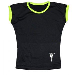 Tričko černé žlutý lem, gymnastka s obručí stříbrná 122