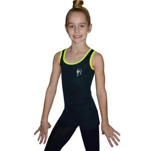 Tílko černé žlutý lem, gymnastka se stuhou bílá