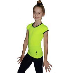 Tričko žluté černý lem, gymnastka s obručí černá