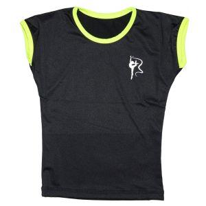 Tričko černé žlutý lem, gymnastka se stuhou stříbrná