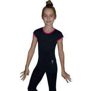 Tričko černé růžový lem, gymnastka se stuhou stříbrná