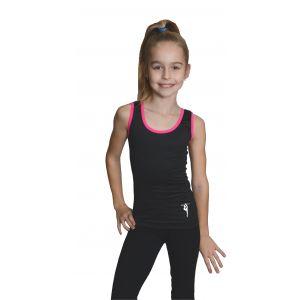 Tílko černé růžový lem, gymnastka s obručí stříbrná