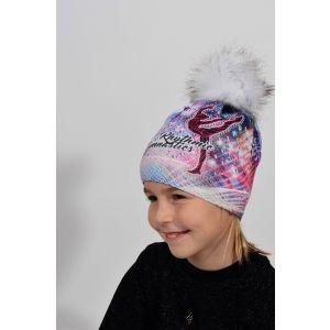 Čepice MERINO růžovo-modrá