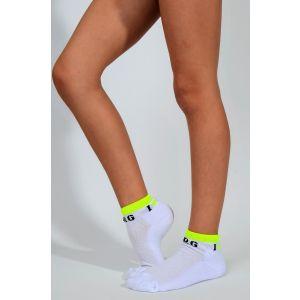 Ponožky I LOVE RG bílé, žlutý lem zesílené