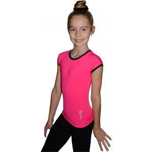 Tričko růžové černý lem, gymnastka s obručí stříbrná