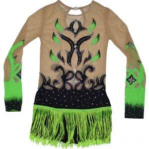 Trikot černo-zelený s třásněmi, dlouhý rukáv
