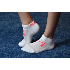 Ponožky bílé, kužele růžové, zesílené