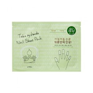 A'PIEU Take My Hand Nail Sheet Pack (Avocado) - maska na nehty s avokádem
