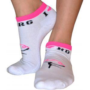 Ponožky I LOVE RG bílé, růžový lem, gymnastka