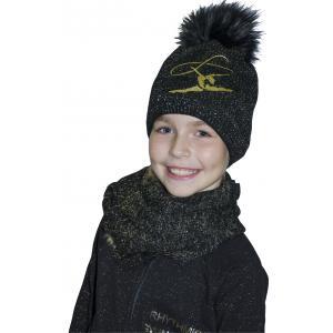 Čepice + šála MERINO černá, zlatá gymnastka